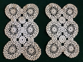 "DOILY Lot 2 Handmade Crochet Off White 5"" x 8"" Beautiful Stitching - $46.79"