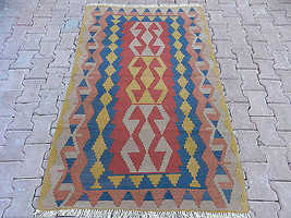 Naturel Dyes  Wool on Wool Vintage Turkish Handwoven Kayseri Kilim Rug 4... - $242.55