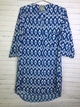 Maeve Anthropologie Womens XS Blue White Ikat Print Tunic Shirt Shift Dress - $30.67