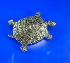 Sterling TURTLE Brooch silver marcasites Vintage Figural Women's Clothin... - $75.00