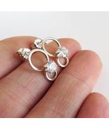 White Zircon Stud Earrings - 925 Sterling Silver Earrings. - $41.50