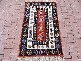 Very Unique From Small Villages in Anatolia Veg. Dye Turkish Kilim Rug 3... - $777.15