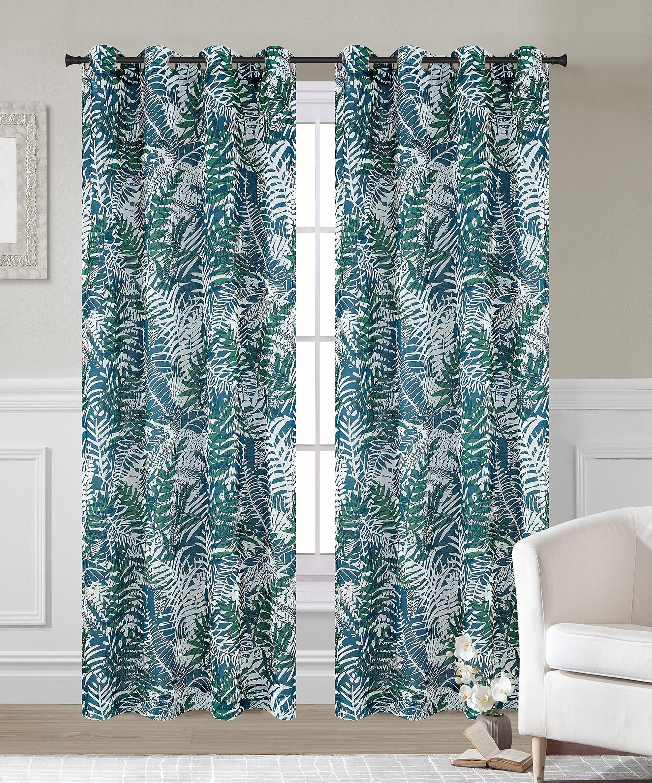 Urbanest 54-inch by 63-inch Palm Set of 2 Faux Linen Sheer Curtain Panels with G image 2