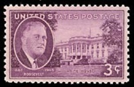 1945 3c Franklin D. Roosevelt Memorial, White House Scott 932 Mint F/VF NH - $0.99