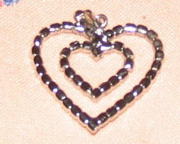 Vintage Costume Jewelry Double Heart Rhinestone Pendant