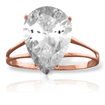 Brand New 5 Carat 14K Solid Rose Gold Ring Natural White Topaz - £176.67 GBP