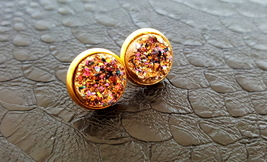 Pink Champagne Druzy Crystal Gold Plate Stud Earrings - $18.84