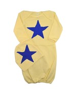 Unique Baby Boys Star Design Gown and Matching Cap 6 months Yellow - $14.99