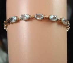 Stunning Blue topaz sterling bracelet sweetheart 18th 65th anniversary g... - $75.00