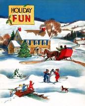 WHITE SNOW CHRISTMAS HOLIDAY FUN SANTA CLAUS CHILDREN PLAY VINTAGE POSTE... - $9.41+