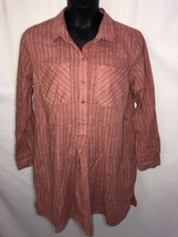 Old Navy XL Salmon Pink Midi Dress Shirt Combo Button Up Pockets - $17.41