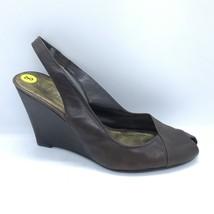 Nine West Slingback Wedge Heels Women Size 8 Brown Peep Toe Shoes - $25.00