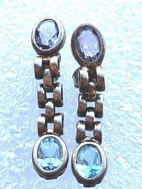 Primary image for VINTAGE STERLING SILVER AMETHYST AQUA GEMSTONE MODERNIST EARRINGS
