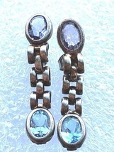 VINTAGE STERLING SILVER AMETHYST AQUA GEMSTONE MODERNIST EARRINGS - $27.54