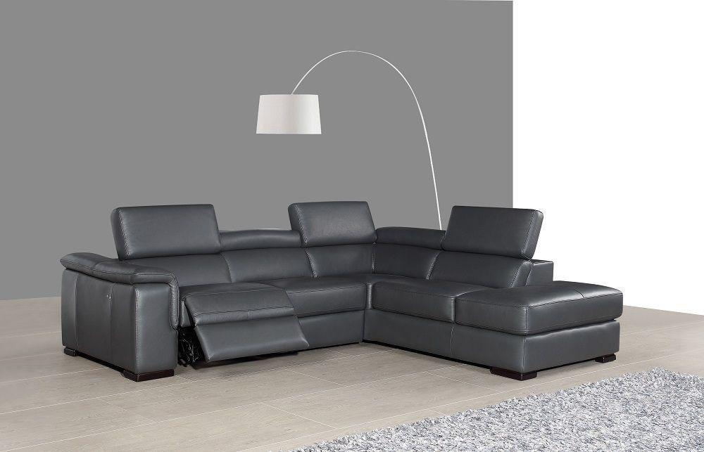 J&M Agata Premium Italian Leather Sectional Modern Right Hand Facing