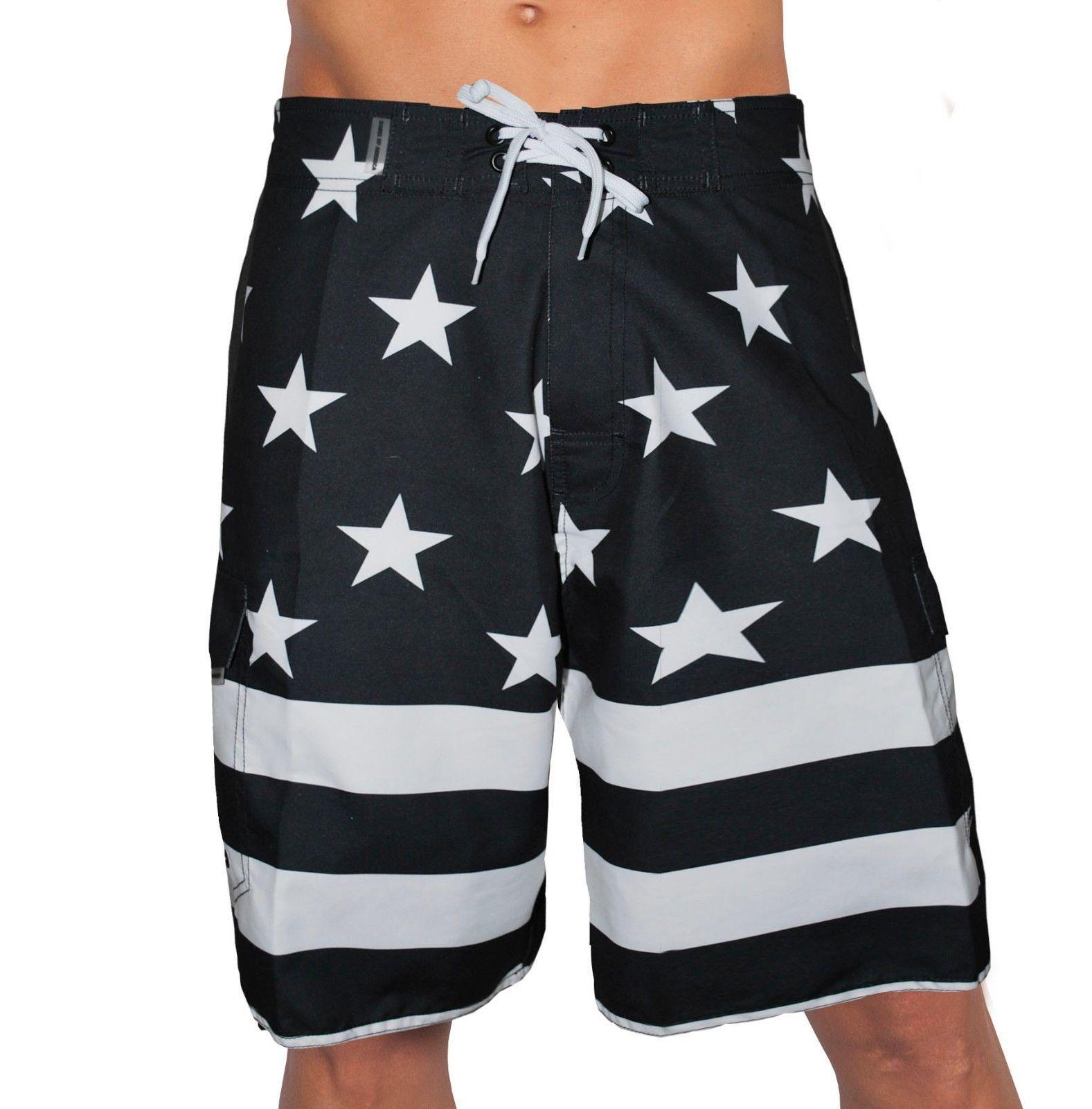 USA AMERICAN BLACK FLAG PATRIOTIC BOARD SHORTS FREEDOM ARMY AMERICA SWIM TRUNKS - $25.01