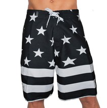 USA AMERICAN BLACK FLAG PATRIOTIC BOARD SHORTS FREEDOM ARMY AMERICA SWIM... - $25.13