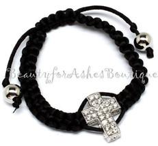 Black Macramae Silver Gold Clear Pave Crystal Believer Cross Bracelet Ad... - $3.89