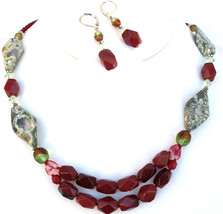 Womens Semi Precious Stones Red Green Rock Handmade Crystal Beaded Necklace Set - $17.49