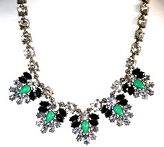 Evening Bib Womens Crystal Glam Glitz Bib Green Black White Dressy Prom Necklace - $5.97