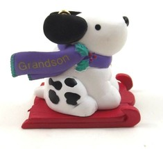 Hallmark Keepsake Grandson Christmas Ornament Dog with Sled Dated 1996 - $9.99