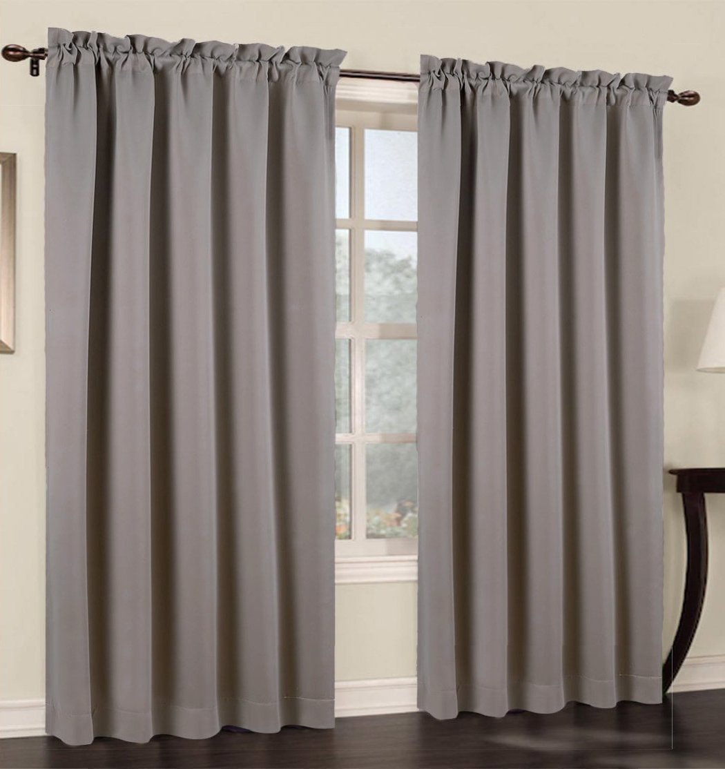 Urbanest 54 Inch Wide By 63 Inch Long Blackout Set Of 2 Curtain Panels Grey Candles