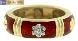 Ladies Stunning 14K 585 Yellow Gold Red Enamel Diamond Flower Band Ring  - $749.47