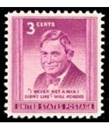 "1948 3c William Penn Adair ""Will"" Rogers, Comedy Actor Scott 975 Mint F/... - €0,84 EUR"