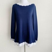 White House Black Market Womens Sz S Pullover Sweater Navy Blue Silk Blend - $33.80