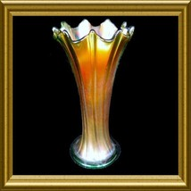 "Northwood ""Flute"" Green Carnival Glass Swung Vase signed - $75.00"