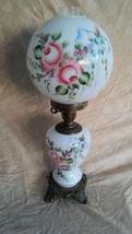 Beautiful Victorian Gone With The Wind Parlor Lamp Bright Floral Violet ... - $197.01