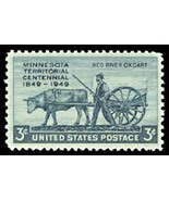 1949 3c Minnesota Territory, Red River Ox Cart Scott 981 Mint F/VF NH - $1.26 CAD