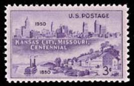 1950 3c Kansas City, Missouri, 100th Anniversary Scott 994 Mint F/VF NH - $0.99