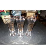GOLD DETAILS COORS BEER TALL PILSNER GLASSES SET OF 3 - $24.70