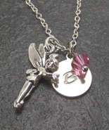 Personalized Fairy Necklace with Birthstone from Swarovski Custom Alphab... - $19.99