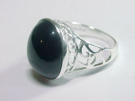 BLACK ONYX Vintage RING in Sterling Silver - Size 8 - $85.00