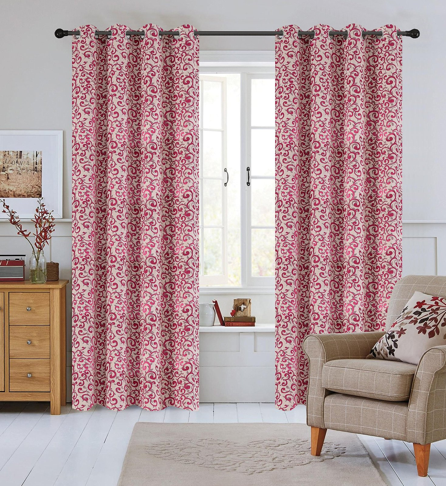 Urbanest 50-inch by 84-inch Set of 2 Jacquard Scroll Drapery Curtain Panel with  image 3