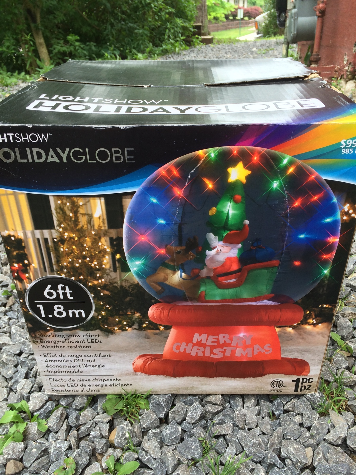 Gemmy 6 ft inflatable snowglobe new lightshow holiday for Outdoor christmas globes