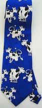 Blue Cow Animal Cartoon Novelty Fancy Neck Tie - $9.99