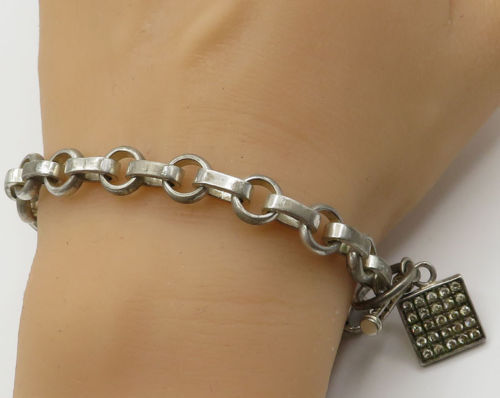 Primary image for 925 Sterling Silver - Vintage White Topaz Charm Chain Bracelet - B2076