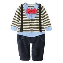 Olive Stripe Little Gentlemen Suit Baby Toddler Infant Onesies Romper Bodysuit