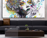Modern wall art girl with flowers oil poster Prints Painting on canvas 24x48inch