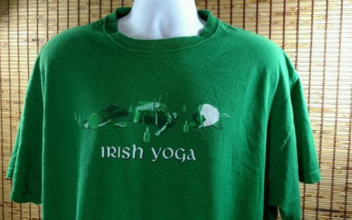 "Primary image for Irish Yoga Cotton T Shirt Size XL Green Ireland St Patrick""s Day Comedy Fun Tee"