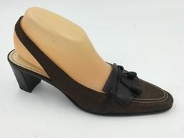 Etienne Aigner Brown Logo Fabric Leather Tassel... - $19.95