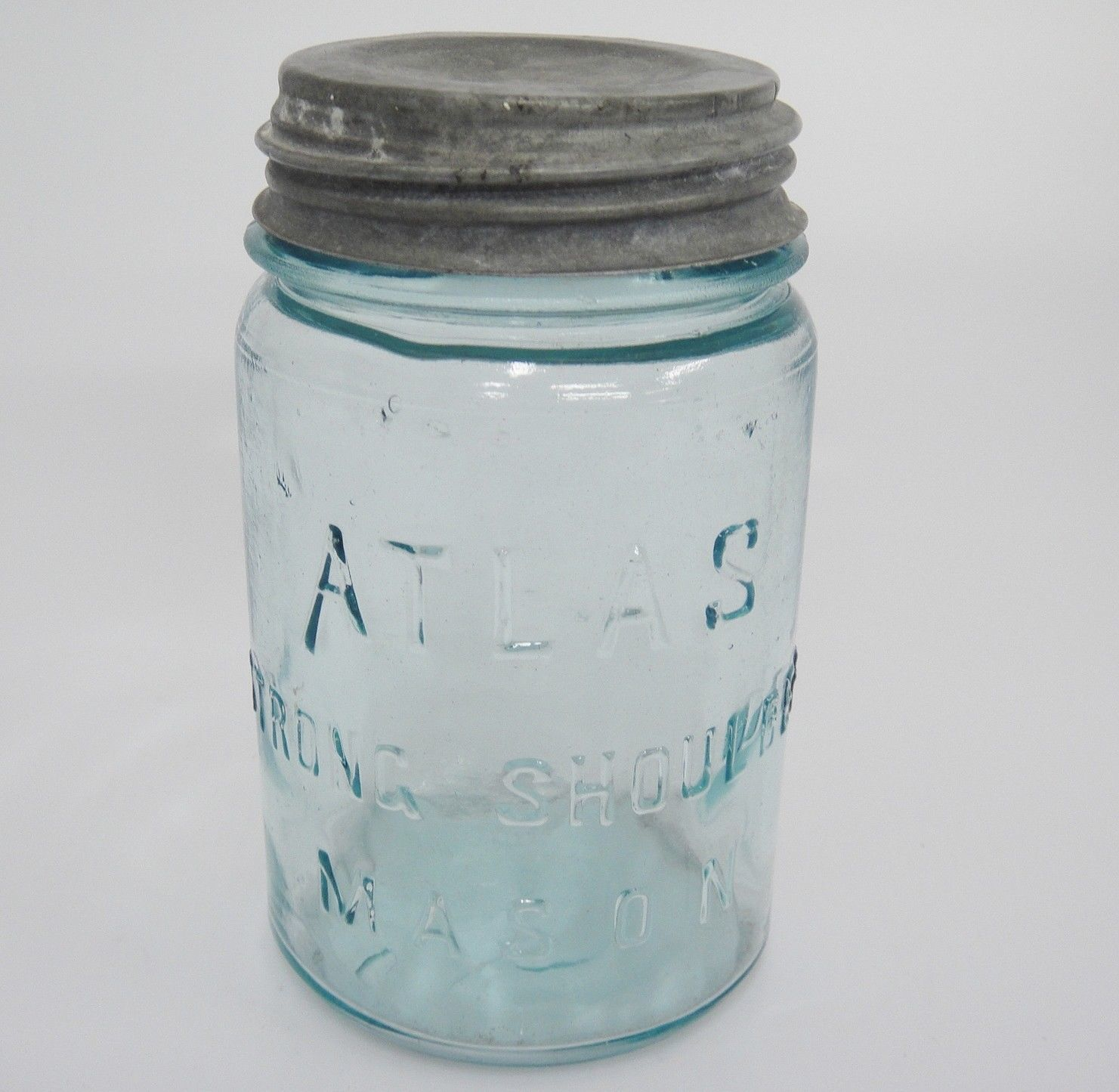 57. 57. Atlas Strong Shoulder Mason 7 Green Glass Jar ...