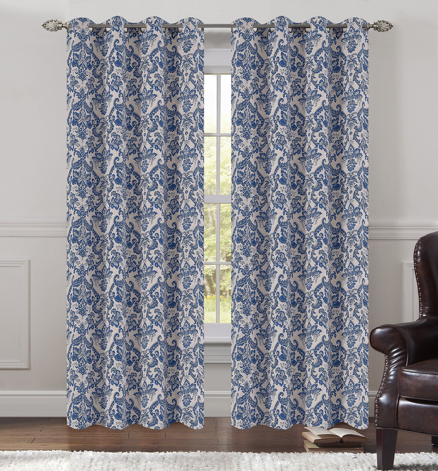 Urbanest 50-inch by 84-inch Set of 2 Jacquard Fern Drapery Curtain Panel with Gr image 3