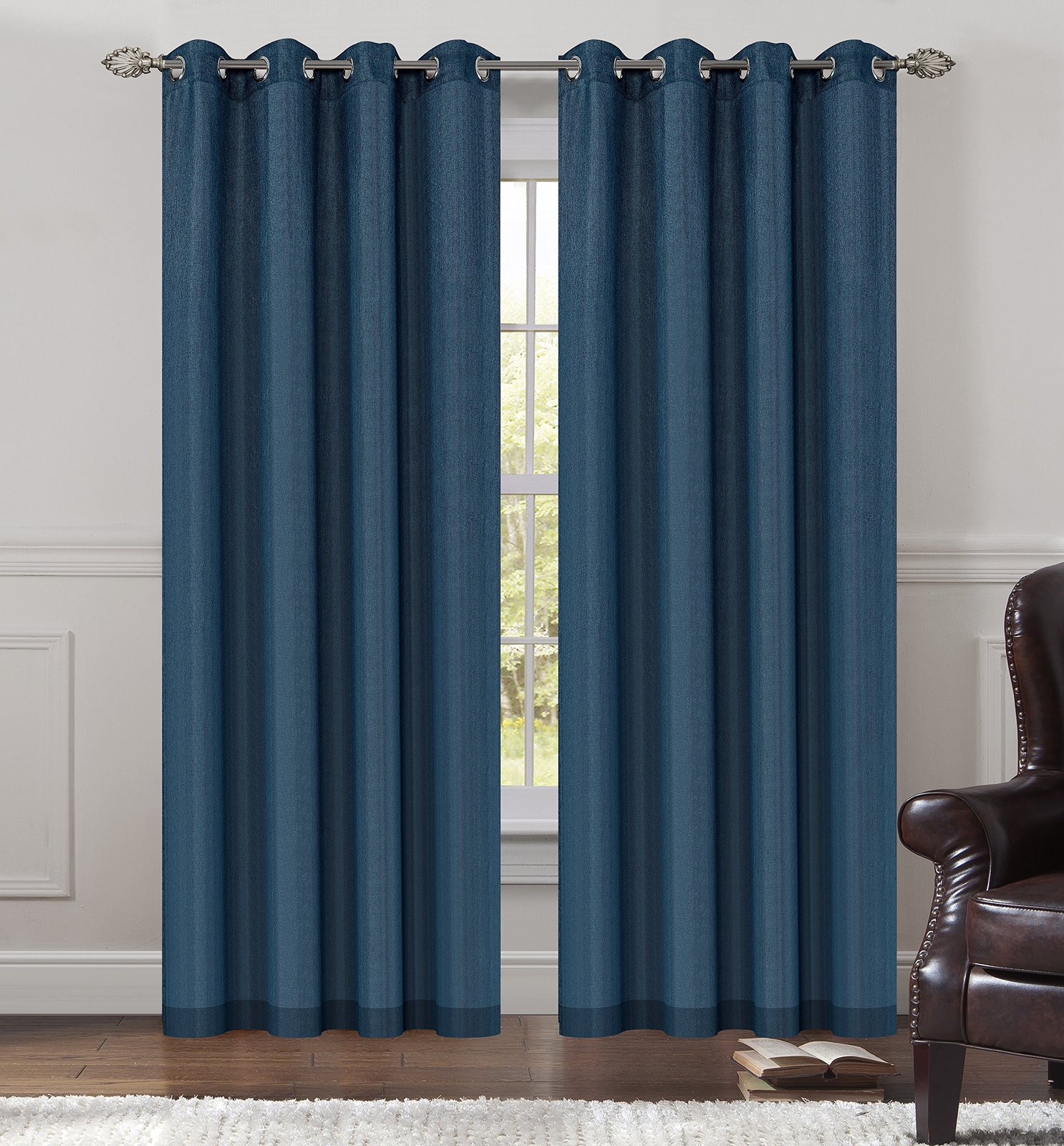 Urbanest 54-inch by 63-inch Tweed Set of 2 Sheer Drapery Curtain Panels with Gro image 2