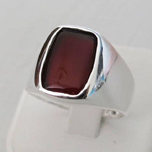 925 Sterling Silver Natural Unpolished Garnet Gemstone Handmade Men's Ring