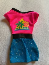 "4.5"" Doll Retro Vintage 80's Dress Pink Blue Palm Tree  Sun Design cute - $18.70"