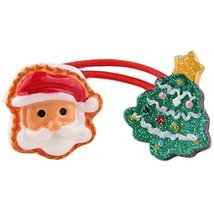 Set of 5 Santa Claus With Fluoresce Tree Hair Rope Ponytail Holders